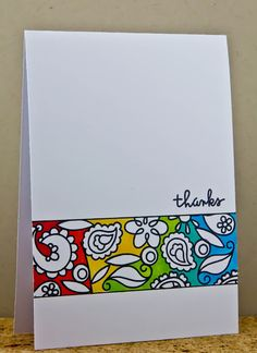 one layer card ... clean and simple ... luv the band of paisley design  with the bold colors in the background area and the designs left in white ...