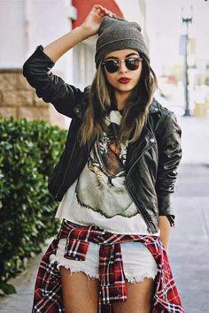 T-shirt with jacket and plaided shirt wrapped around | Glamrous fashion