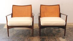 IB Kofod-Larsen Spear Armchairs #544-15 for Selig   From a unique collection of antique and modern lounge chairs at https://www.1stdibs.com/furniture/seating/lounge-chairs/