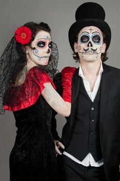 Beau déguisement Halloween homme et femme - crane de sucre