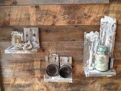 very rustic reclaimed wood shelves