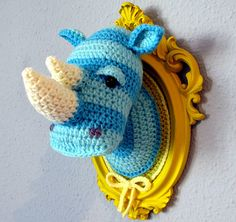 Crocheted Rhino Head...or some other wild animal i like more