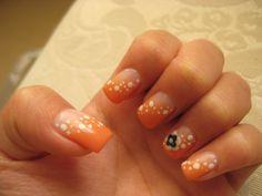 white nail art designs | Orange x White paint, 3D flower