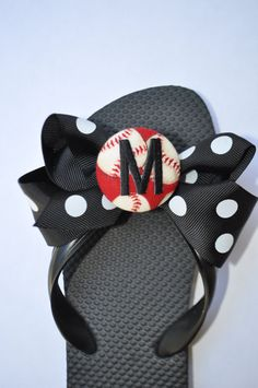 Custom Monogrammed baseball TEAM COLORS interchangeable flip flop bows--- muliple colors available--show your team spirit. $8.00, via Etsy.