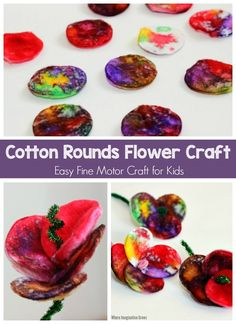 Spring Craft for Kids! Simple fine motor flower craft using cotton rounds and droppers for preschool, kindergarten, & early elementary! Colorful Mother's Day gift idea too!