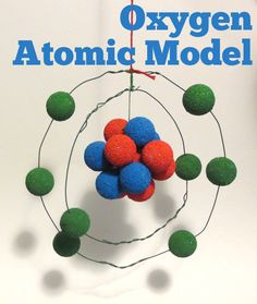 oxygen atomic model with wire, styrofoam balls, and paint