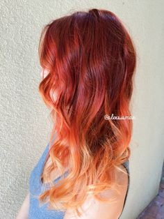 Red Fire Balayage Ombre Hair using OLAPLEX + SCHWARZKOPF