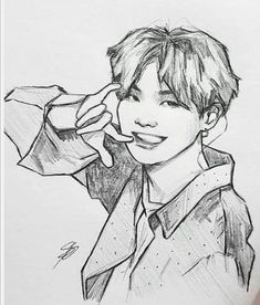 Kpop Drawings, Art Drawings Sketches Simple, Pencil Art Drawings, Fanart Bts, Anime Character Drawing, Arte Sketchbook, Korean Art, Art Inspo, Painting & Drawing