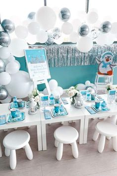Don't miss this sweet winter wonderland birthday party! The table settings and balloon garland are fabulous!  See more party ideas and share yours at CatchMyParty.com #catchmyparty #partyideas #winter #winterparty #penguin #penguinparty #winterwonderland Girls Birthday Party Themes, Birthday Parties, Girl Birthday, Birthday Ideas, Balloon Garland, Balloons, Winter Wonderland Birthday, Penguin Party, Table Settings