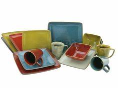 Melamine Dinnerware Sets, Square Dinnerware Set, Porcelain Dinnerware, Tableware, Retro Color, Form, Stoneware, Sunglasses Case, Handmade