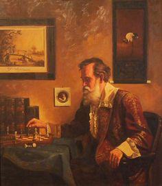 BRÜCKNER Karl (1805 – 1892) Der Schachspieler.