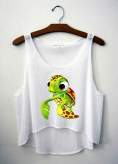 Turtle White Crop Top