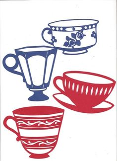Tea cups silhouettes set of four by hilemanhouse on Etsy, $5.95