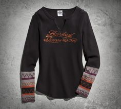 The embroidered details on the sew-on cuffs make for a cute cool-weather women's long sleeve top. | Harley-Davidson Women's Patterned Cuff Henley