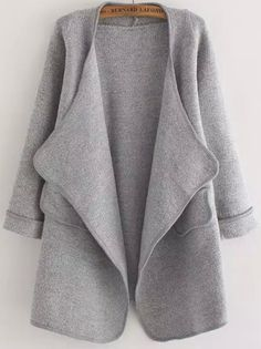 Grey Long Sleeve Stitch Pocket Loose Cardigan -SheIn(abaday)
