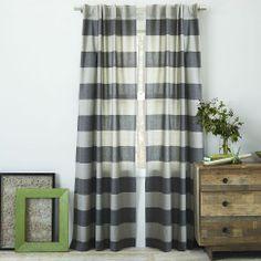 Cotton Canvas Bold Stripe Window Panel - Slate | west elm