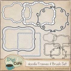 Digiart Cafe: Freebie: Doodle Frames and Brush Set Digital Stamps, Digital Scrapbooking, Digital Art, Doodle Drawing, Zen Doodle, Free Doodles, Doodle Borders, Doodle Patterns, Doodle Frames