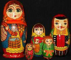 Vtg 5 PC Signed Ukrainian Family Russian Nesting Dolls Matryoshka | eBay