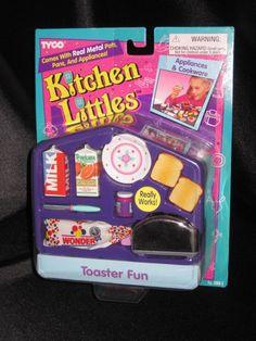 Kitchen Littles Toaster Fun Set by Tyco Doll Clothes Barbie, Barbie I, Barbie House, Barbie Stuff, Barbie Food, Doll Stuff, Childhood Toys, Childhood Memories, Retro Toys