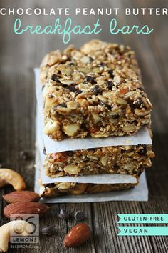 Quite an energy bar! Vegan/GF Chocolate Peanut Butter Breakfast Bars via @86Lemons .com