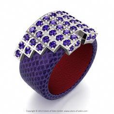 Tanzanite Leather Ring