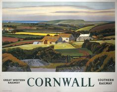 Poster produced for the Great Western Railway (GWR) and the Southern Railway (SR) to promote rail travel to Cornwall cm) Fine Art Print Framed, Poster, Canvas Prints, Puzzles, Photo Gifts and Wall Art Train Posters, Railway Posters, British Travel, National Railway Museum, Southern Railways, Cottage Art, Great Western, Vintage Travel Posters, Retro Posters
