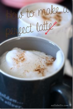 How to make a perfect latte at home! Just a stovetop espresso maker and you. As good as the coffee shops! ~nelliebellie.com #coffee #latte #espresso