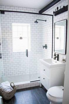 Incredible Small Bathroom Remodel Ideas unglaubliche kleine Badezimmer umgestalten Ideen This image has get Bathroom Design Small, Bathroom Interior Design, Small Bathrooms, Bathroom Modern, Bathroom Remodel Small, Small Bathroom With Shower, Small Bathroom Renovations, Bathroom Black, Modern Vanity