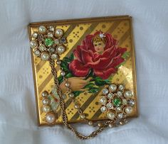 Victorian compact mirror, flower girl 1800's calling card, vintage jewelry, One of a kind