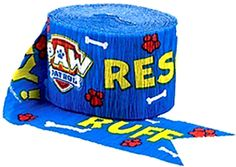 "[Single Pack] Crepe Paper Streamer Roll ""Rescue Puppy Party Design"" for Decoration and Craft Supply with 30 Ft / 9.1 M Length {Blue, Yellow, Red, and White Colors}"