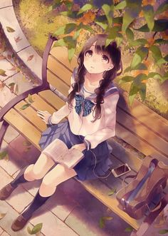 Girl, Buuta, Earbuds, MP3 Player, Sitting On Bench, Bench, Music. Ipod, Looking Up, Twin Braids, Anime, School Uniform  zerochan Buuta 1562562