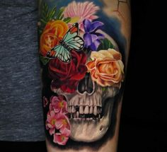 nice Whats the symbolism behind the flower skull tattoo? Boys With Tattoos, Little Tattoos, Love Tattoos, Beautiful Tattoos, Body Art Tattoos, Key Tattoos, Funny Tattoos, Beautiful Beautiful, Beautiful Flowers