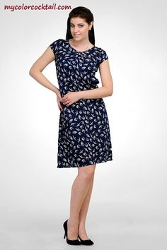 For Bird prints in vogue this season!! Try this Navy bird print dress..only on mycolorcocktail.com, find it on http://mycolorcocktail.com/dresses-skirts/navy-bird-print-dress.html