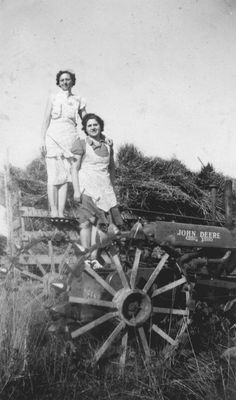 The second lady favors my mom...but it's not her.  But she was raised on a #farm and probably helped with the hay.