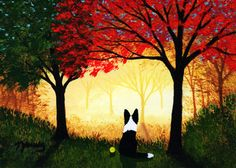 Border Collie Dog Outsider Folk Art PRINT Todd Young Autumn Forest Light