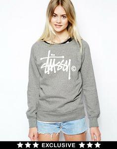 Stussy Crew Neck Sweatshirt With Signature Logo Exclusive To ASOS