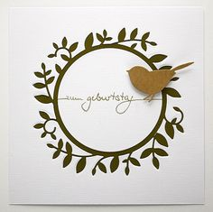 handmade card ... clean and simple look ... inlaid die cut wreath with a sweet little bird perched on the side ... ...