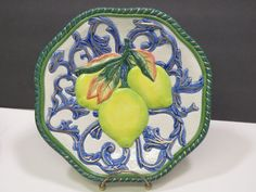 """FITZ FLOYD Classics Florentine Canape Fruit Lemons Wall Lunch Plate 9"""" Retired Plate Sets, Spoon Rest, Serving Bowls, Lunch, Plates, Fruit, Classic, Tableware, Wall"""