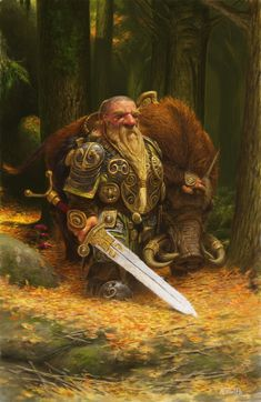 'Boar Rider' by Adrian Smith / Fantasy character concept dwarf warrior soldier knight armor sword beast mount forest