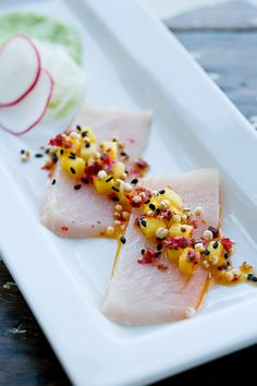 Cured Hamachi with Mango-Peppercorn Salsa and Wasabi-Edamame Purée.  Inspired from David Chang's Momofuku cookbook!