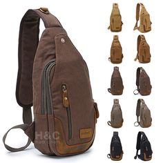 Canvas Military Hiking Messenger Travel Shoulder Sling Bag Chest Pack Backpack #Unbranded #MessengerShoulderBag