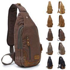 Canvas Military Hiking Messenger Travel Shoulder Sling Bag Chest Pack Backpack #Unbranded #MessengerShoulderBag
