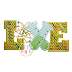 Science Love Applique Design For Machine by TheItch2Stitch on Etsy