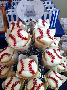 """Lil Slugger"" Baby Shower for my sister. Our Concessions..Baseball cupcakes"
