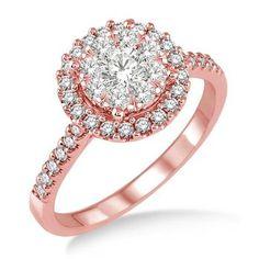 Lovebright 14K Rose Gold .75 Ctw Round Shape Diamond Fashion Ring