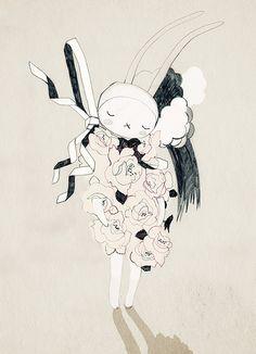J'aime beaucoup l'ombre du lapin.Puis le traveau de crayon.Cette peinture me fait sentir fragil et préssieuse.