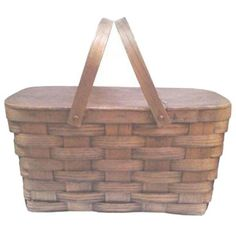 Vintage 1940s Oak Woven Picnic Basket (205 AUD) ❤ liked on Polyvore featuring home, kitchen & dining, food storage containers, baskets, woven picnic basket, vintage picnic basket, vintage basket, weave basket and woven basket