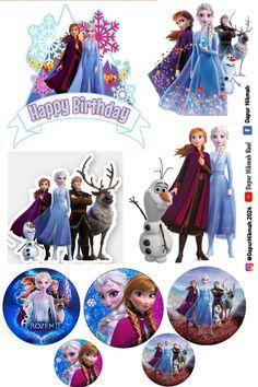 Frozen Themed Birthday Cake, Disney Frozen Birthday, Happy Birthday Cake Topper, Frozen Party, Frozen Cupcake Toppers, Princess Cake Toppers, Frozen Cake Topper, 2 Clipart, Frozen Pictures