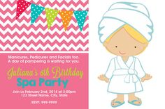 Printable Spa Party Birthday Invitation Spa Birthday Party Invitation Spa Party