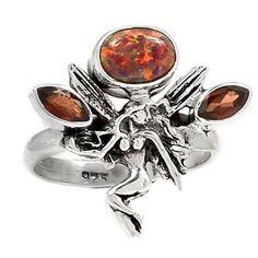 Fairy-Fire-Opal-amp-Garnet-925-Sterling-Silver-Ring-Jewelry-s-8-SR171405